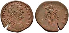 Roman Empire - Septimius Severus (193 - 211 A.D.) bronze sestertius (25,40 g, 30-31 mm) Rome mint, 195 A.D.  Mars with spear and trophy.