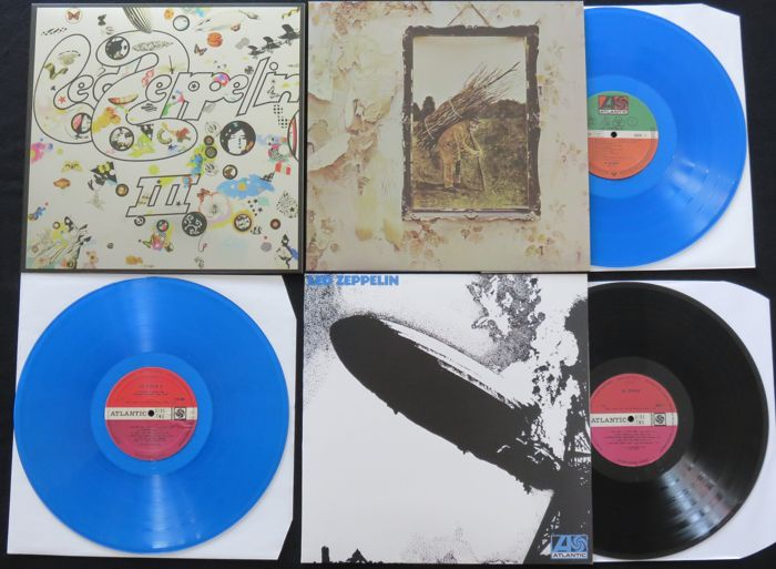 Led Zeppelin - 3 great albums including 2x BLUE vinyl + foil 'mirror'sleeves * Led Zeppelin / III / IV