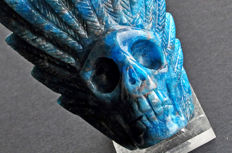 finely detailed intense blue Apatite skull - 11.5 X 7 X 4.5 cm - 419 gm