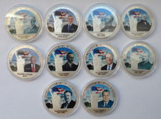 United States - Lot of 10 x Commemorative Coins 'The President of the United States', Cu-Ni 28 gr each