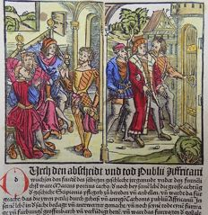 Livius (Livy) - Rubricated incunabula woodcut leaf - Sentencing and banishment of Scipio Africanus - 1505