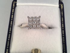 Vintage white gold ring with brilliant cut diamonds, 0.45 ct.