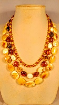 Set of 3 Vintage Baltic Amber necklaces, length 47, 54, 58 cm,  63 grams
