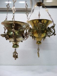 2 very nice Dutch religious hanging brass incense vessels -- mid 20th century