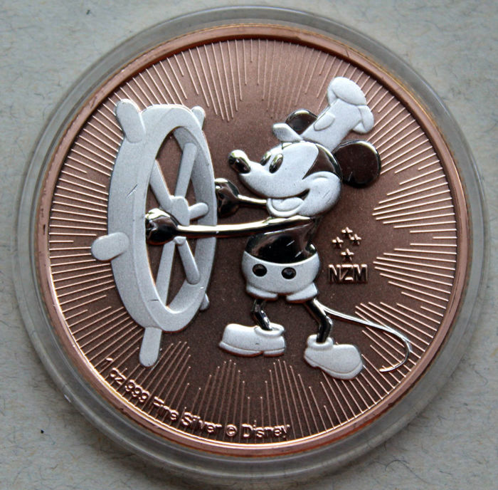 Niue. 2 Dollars 2017 Mickey Mouse Steamboat Willie - Rose gold 1 oz