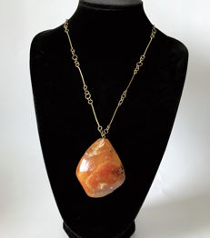 Old natural Baltic Amber pendant with chain, weight 44.1 grams, Baltic region, not pressed, not heated.