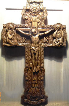 Oak - Cross carved wooden crucifix on the wall - Ukraine - 21 century
