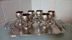 Nickel silver worked tray with handles (1960) - together with 6 cups made of silver plated bronze (Valero) - Spain - 20th century