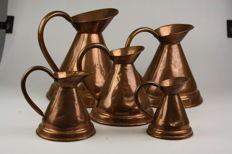 Set of five copper jugs - 20th century