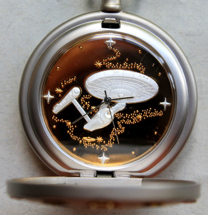 "Franklin Mint 1999 - pocket watch - Star Trek ""U.S.S. Enterprise NCC-1701"" with chain and belt pouch"