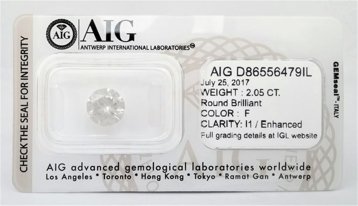 Round Brilliant Cut  - 2.05 carat - F color - I1 clarity- Sealed With AIG - 3 x VG - None