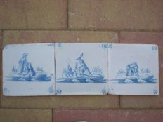Lot with 3 antique tiles with biblical scenes (special scene)