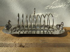Silver plated foie gras / toast rack with tray, in Art Deco style