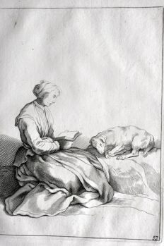 Abraham Bloemaert (1564-1651)- Reading woman with dog, 1660