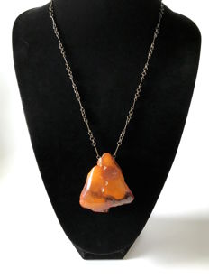 Old Natural Baltic Amber big pendant with chain, 40.7 gr., not pressed, not heated, from the Baltic region