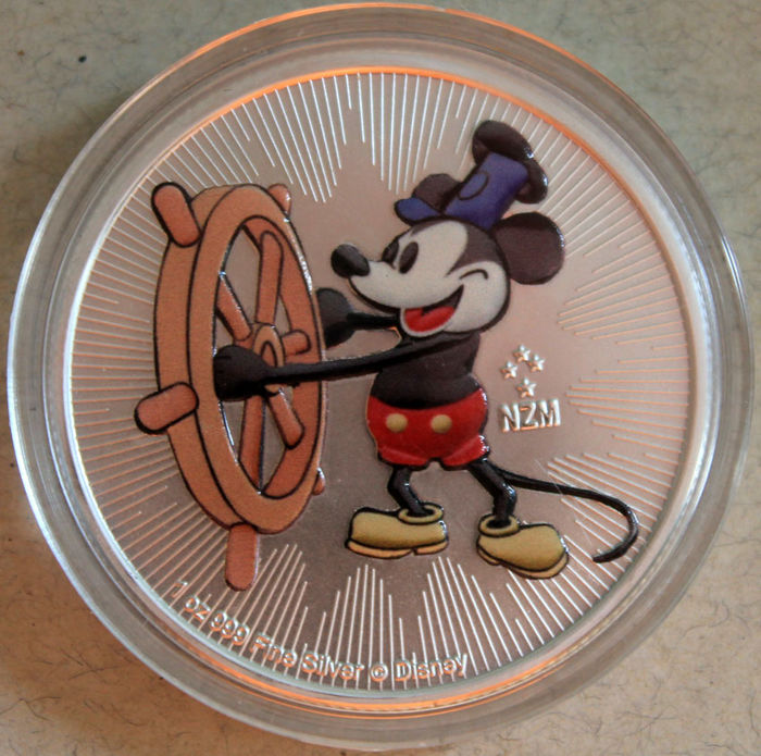 Niue 2 Dollars 2017 Mickey Mouse Steamboat Willie Coloured 1 Oz