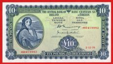 Ireland - Lady Lavery - 10 Pounds 1976 - Series A - Central Bank of Ireland - Pick 66d