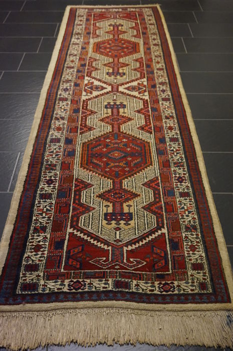 Old Persian carpet Sarab runner Made in Iran 100 x 312 cm wool on cotton, natural colours