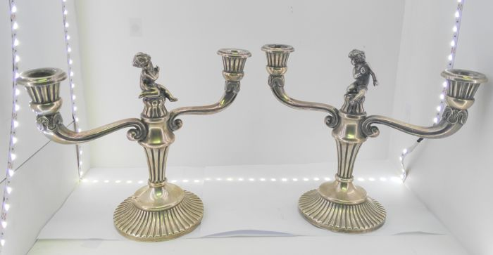 Pair of candelabra in silver - Spanish - mid 20th century