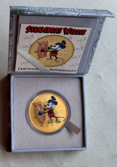 Niue – 2 Dollars 2017 'Mickey Mouse – Steamboat Willie' gilded – 1 oz silver