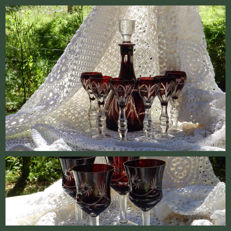 Bohemian crystal - decanter with 6 liqueur glasses, comes with 4 wine glasses