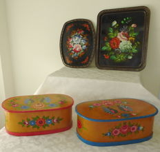 Two hand-painted wooden boxes - folk art - two hand painted trays with flower - folk art.