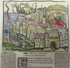 Grüninger Master; Virgil folio - Army of Minos laying Siege - hand coloured - 1529