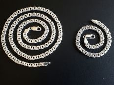 925 Silver  Graibaldi Chain & Bracelet  Set
