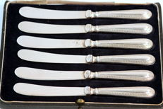 Antique set of six silver knives with silver plate blades - Robert Pringle & Sons - Sheffield - 1923