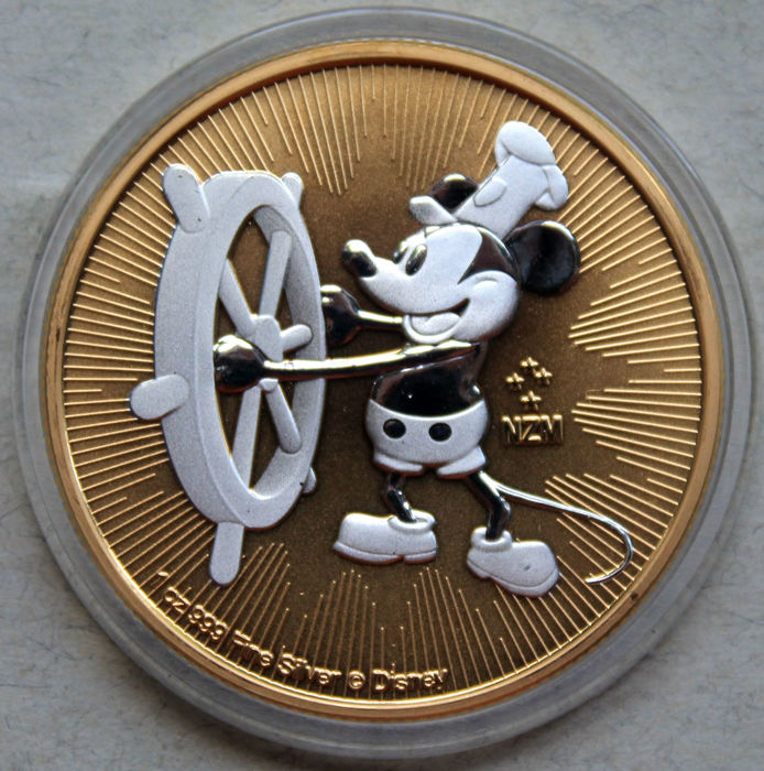 Niue 2 Dollars 2017 Mickey Mouse Steamboat Willie Gilder 1