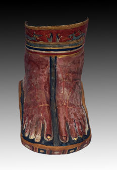 Egyptian decorated cartonnage mummy foot case - H 8 x 9 Inches.