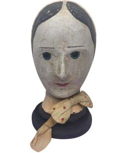 A moulded and painted paper mache milliners head - France - circa 1870-1880