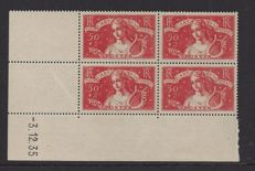 France 1935 – 0.50 + 2 Fr. Intellectuals – Yvert 308 in block of 4 with Coin date