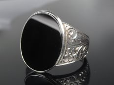 Old, vintage onyx signet ring for men, handmade