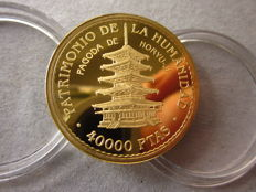 Spain – gold – Juan Carlos I – 40000 pesetas gold coin – 1997 – World Heritage.   Pagoda of Horyu-Ji.
