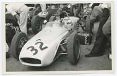 4 Period black and white Lotus Bruce Mclaren,  Brands Hatch  photographs