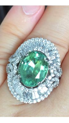 11.04 TCW Paraiba Tourmaline & Diamond Ring GIA certified 18K solid white gold, ringsize US 6.75 / EUR 53 / UK M 1/2.