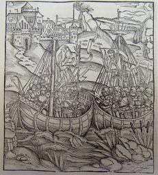 Gruninger Master; Virgil - Woodcut - Brandt Edition -  The Aeneid. Aenaes reaches Land. Galleon, Sailing Ships  - 1502