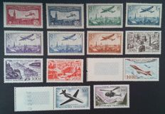 France 1930/1959 - Airmail, selection of 13 stamps - Yvert no. 5, 6, 8, 9, 10, 12, 13, 24, 26, 27, 30, 36 and 37