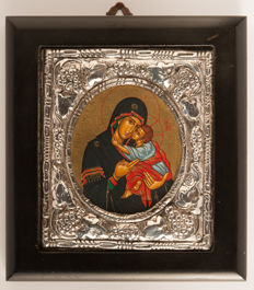 Beautiful Orthodox icon - 950 silver coating- 20th century
