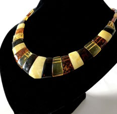Wide necklace of genuine Baltic Amber slices (not pressed) - length 48 cm, width 30 mm