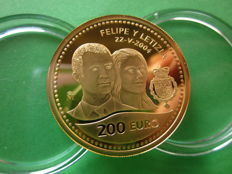 Spain – gold – 200 euros – Felipe and Letizia – royal wedding – 2004 – 6303 specimens struck