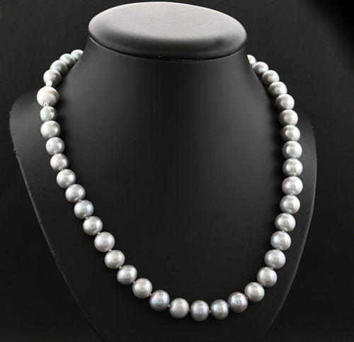 9 mm pearl Necklace-Silver Grey No reserve