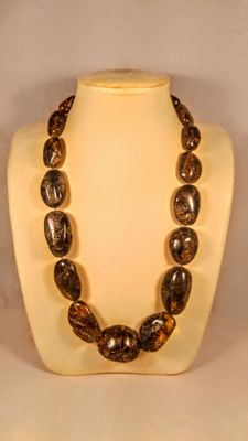 100% Genuine dark colour Baltic Amber necklace, 113 grams