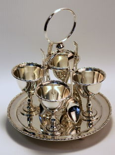 Vintage silver plate egg holder set, Possibly Barker Brothers, Circa.1960's