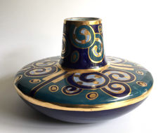 Céramique de Bruxelles, Cerabelga - Art Deco vase in the striking colours blue and gold