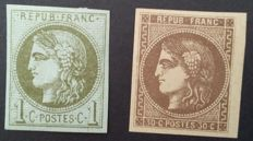 France 1870 - selection of 2 Bordeaux type stamps - Yvert no. 39B and 47