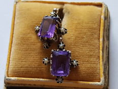 Silver earrings with octagon cut - amethysts and mini pearls circa 1890
