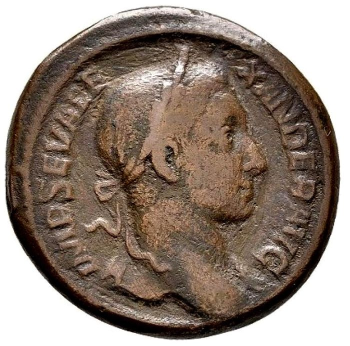Roman Empire - Severus Alexander (222 - 235 A.D.), bronze as (11,27 g. 24-25 mm), from Rome mint, 229 A.D. P M TR P VIII COS III P P, Emperor in quadriga. Scarce!