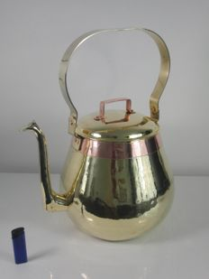 A rare large antique copper apple kettle / water boiler with swallow connection - height 45 cm